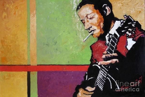 Jazz Art Print featuring the painting Jazz Guitarist by Yuriy Shevchuk