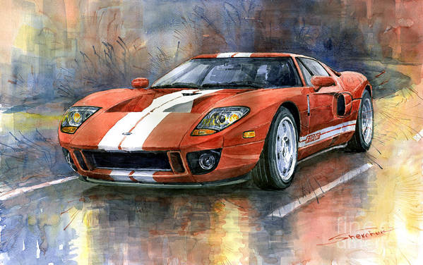 Watercolor Art Print featuring the painting Ford GT 40 2006 by Yuriy Shevchuk
