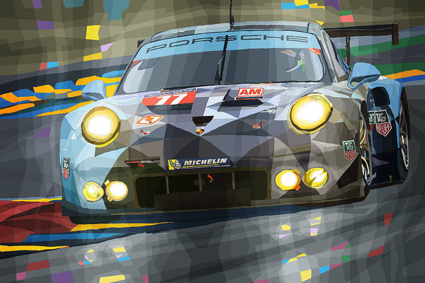Automotive Art Print featuring the digital art 2015 Le Mans GTE-Am Porsche 911 RSR by Yuriy Shevchuk