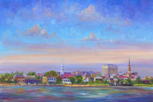 Charleston Art Print featuring the painting Charleston Skyline by Jeff Pittman