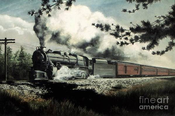 Pennsylvania Railroad Prr Train Painting Railroad Maryland And Pennsylvania Autumn Fall Colors Steam Engine Art Print featuring the pastel Pennsy in the Pines by David Mittner