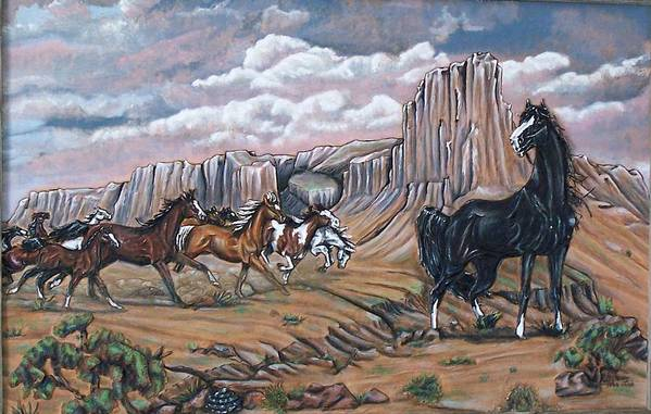 Horses Art Print featuring the painting Running Wild by Lilly King
