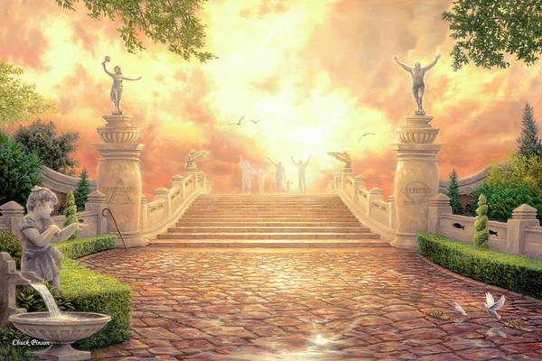 Heaven Art Print featuring the painting The Bridge of Triumph by Chuck Pinson
