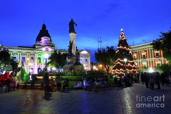 Christmas Decorations In Plaza Murillo La Paz Bolivia Art Print By James Brunker