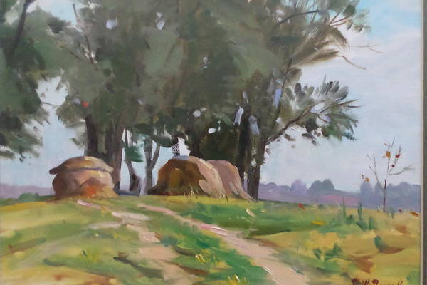 Rural Scene Art Print featuring the painting Hay Bales by Ron W McDowell