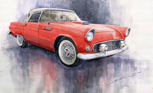 Watercolor Art Print featuring the painting Ford Thunderbird 1955 Red by Yuriy Shevchuk