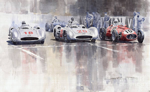 Watercolour Art Print featuring the painting French GP 1954 MB W 196 Meserati 250 F by Yuriy Shevchuk