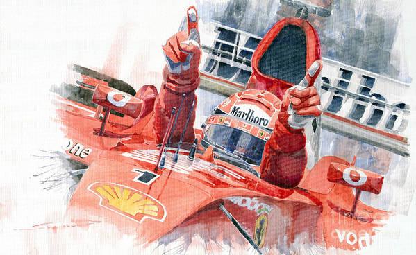 Watercolor Art Print featuring the painting 2001 Scuderia Ferrari Marlboro F 2001 Ferrari 050 M Schumacher by Yuriy Shevchuk