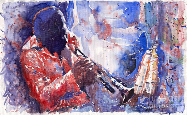 Jazz Art Print featuring the painting Jazz Miles Davis 15 by Yuriy Shevchuk
