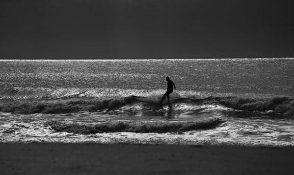 Surfer Art Print featuring the photograph Morning surfer by Sheila Smart Fine Art Photography