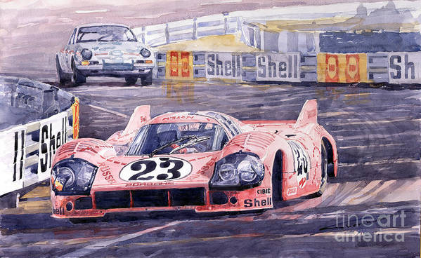 Watercolor Art Print featuring the painting Porsche 917-20 Pink Pig Le Mans 1971 Joest Reinhold by Yuriy Shevchuk