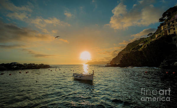 Travel Art Print featuring the photograph Sunset in Cinque Terre by Alex Dudley
