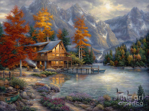 Mountain Cabin Art Print featuring the painting Space for Reflection by Chuck Pinson