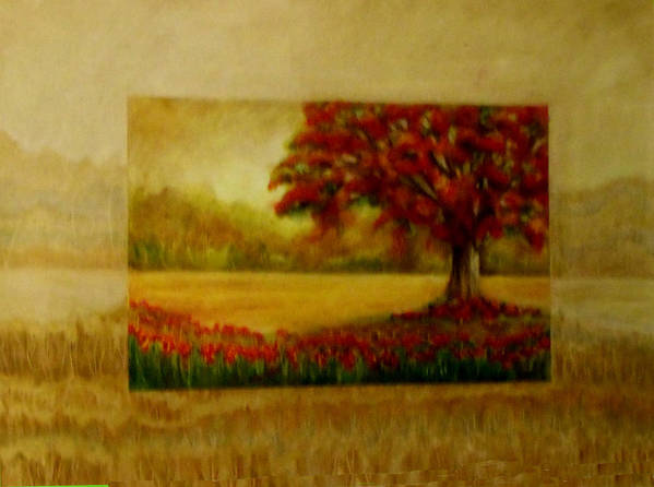Gold Art Print featuring the painting Coral Tree by Patricia Halstead
