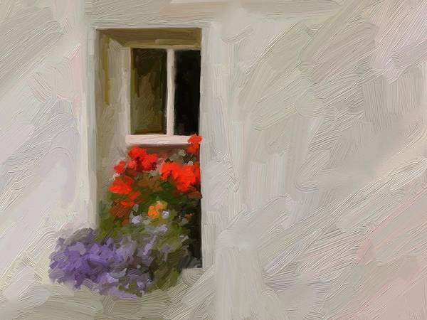 Art Painting Landscape Art Print featuring the digital art Galway Window by Scott Waters