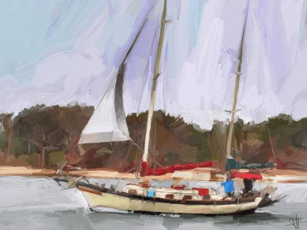 Florida Sailboat Art Art Print featuring the digital art Outbound by Scott Waters
