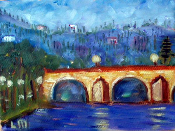 Hills Rivers Water Bridges Evening Art Print featuring the painting Ponte Vecchio by Lia Marsman