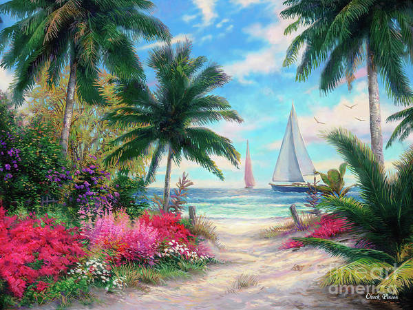 Tropical Art Print featuring the painting Sea Breeze Trail by Chuck Pinson
