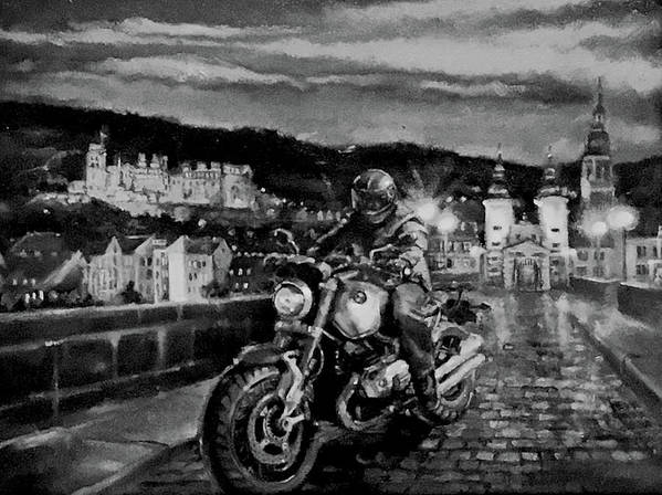 Black And White Art Print featuring the painting The Knight of Heidelberg-Black and White Version by BJ Lane