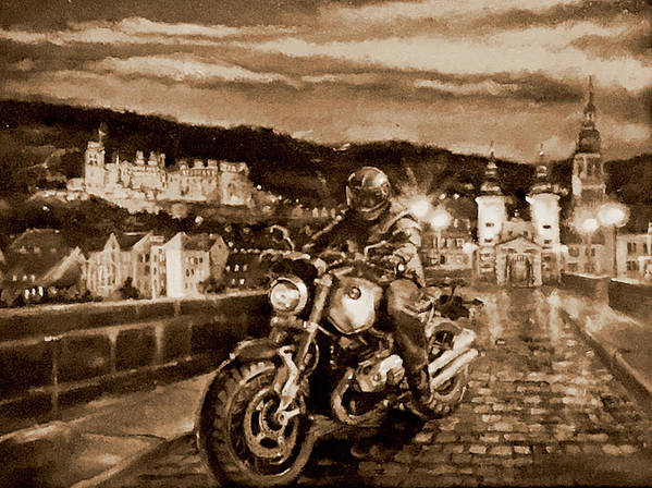 Sepia Painting Art Print featuring the painting The Knight of Heidelberg-Sepia by BJ Lane