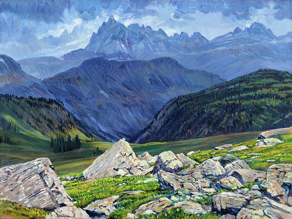 Wyoming Landscape Art Print featuring the painting Thunderheads at Fox Creek Pass by Steve Spencer