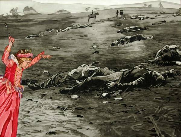 War Art Print featuring the painting Too Late by Valerie Patterson