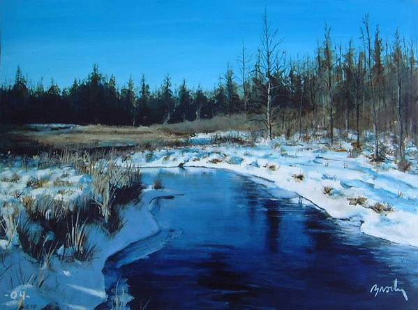 Landscape Realistic Art Print featuring the painting Winter Stream by William Brody