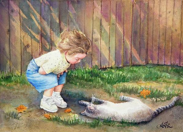 Child Art Print featuring the painting Autumn Catnip by Arthur Fix
