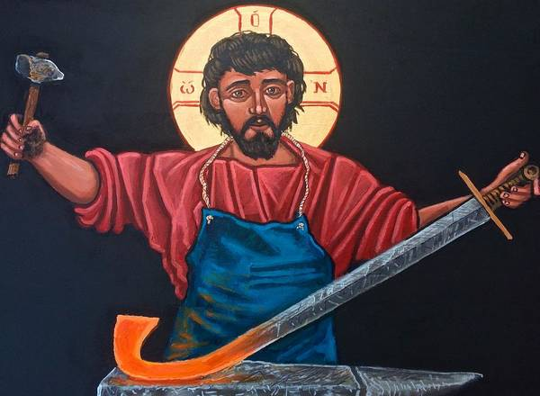 Iconography Art Print featuring the painting Christ Swords into Plowshares by Kelly Latimore