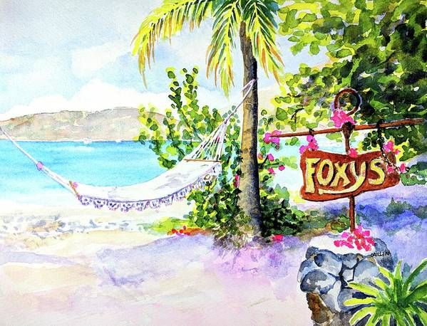 Hammock on Beach at Foxy's by Carlin Blahnik CarlinArtWatercolor