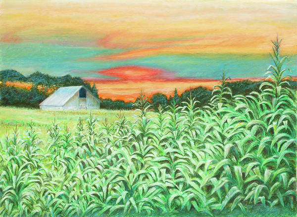 Landscape Art Print featuring the painting Neola Corn by Arthur Fix