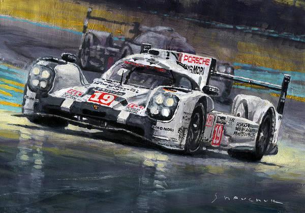 Acrilic Art Print featuring the painting 2015 Le Mans 24 LMP1 WINNER Porsche 919 Hybrid Bamber Tandy Hulkenberg by Yuriy Shevchuk