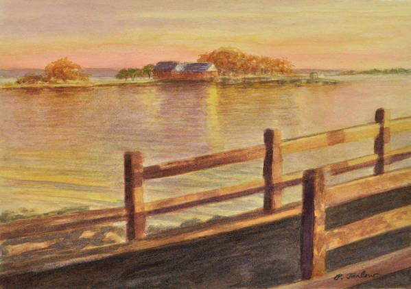 Landscape Art Print featuring the painting Five Islands Sunset by Phyllis Tarlow