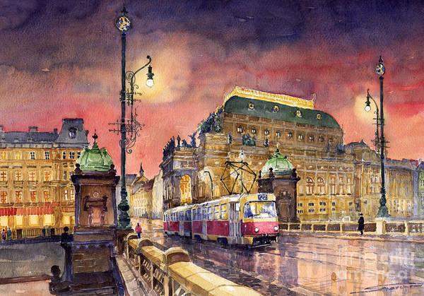 Bridge Art Print featuring the painting Prague Night Tram National Theatre by Yuriy Shevchuk