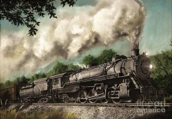 Baltimore & Ohio Railroad B&o Q4 Train Painting Railroad Maryland And Pennsylvania Autumn Fall Colors Steam Engine Art Print featuring the painting Sunday Drive by David Mittner
