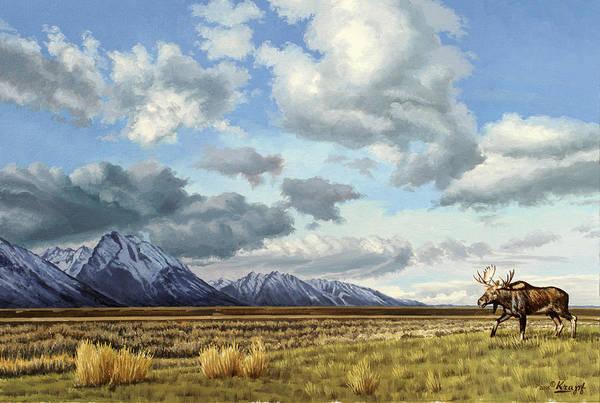 Teton National Park Art Print featuring the painting Tetons-Moose by Paul Krapf