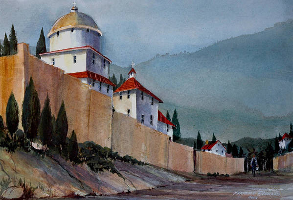 Tuscan Art Print featuring the painting Tuscan Lane by Charles Rowland