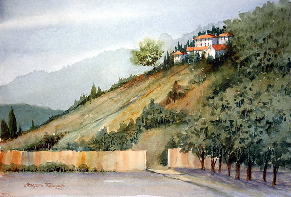 Tuscan Art Print featuring the painting Tuscan Hills by Charles Rowland
