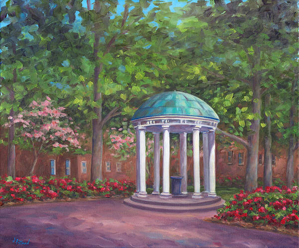 Unc Art Print featuring the painting UNC Old Well in Spring Bloom by Jeff Pittman