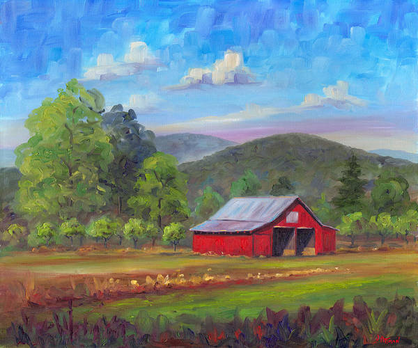 Red Barn Art Print featuring the painting Red Barn in Fruitland by Jeff Pittman