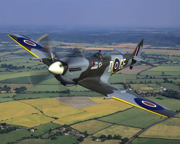 Supermarine Spitfire Lf.xvie Over Buckinghamshire by Austin Brown