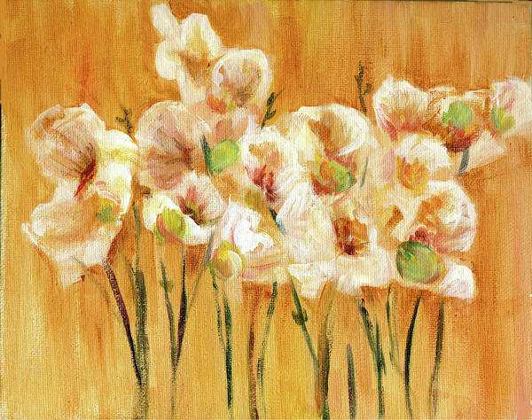 Flower Print Art Print featuring the painting Orchid Painting by Patricia Halstead