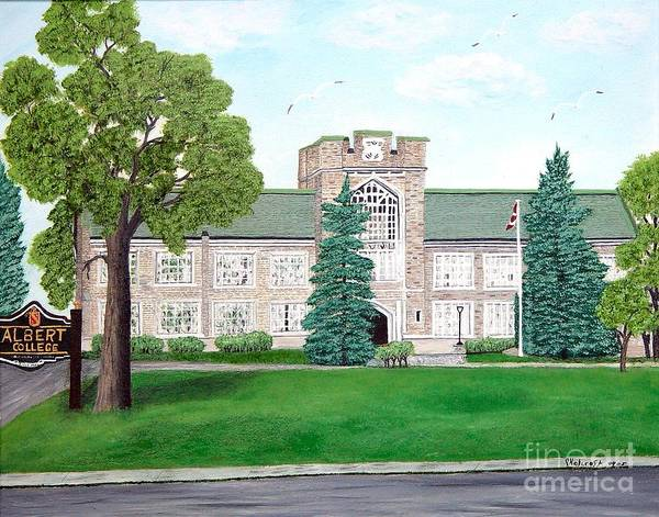 School Paining Art Print featuring the painting Albert College by Peggy Holcroft