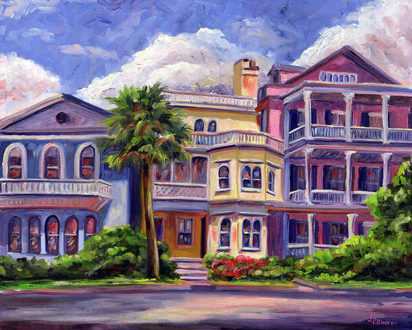 Colorful Historic Houses On The Charleston South Battery With Pastel Color And Blue Skies.. Art Print featuring the painting Charleston Houses by Jeff Pittman