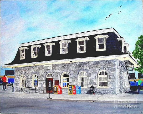 Oldest Cn / Grand Trunk Station In Canada Painting Art Print featuring the painting CN Station Belleville Circa 1856 by Peggy Holcroft