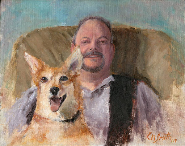 Portraits Art Print featuring the painting Dans Best Friend by Chris Neil Smith
