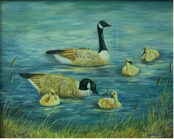 A Pair Of Mallards Art Print featuring the painting First Lesson by Wanda Dansereau