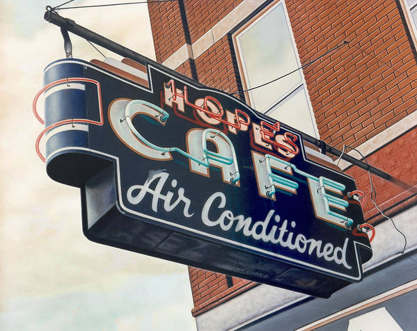 Cityscape Art Print featuring the painting Hope's Cafe by Van Cordle