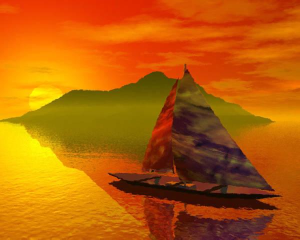 Boat Art Print featuring the digital art Islandside by Adam Wells