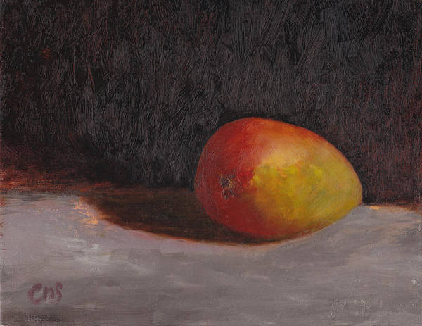 Still Life Art Print featuring the painting Just a mango by Chris Neil Smith